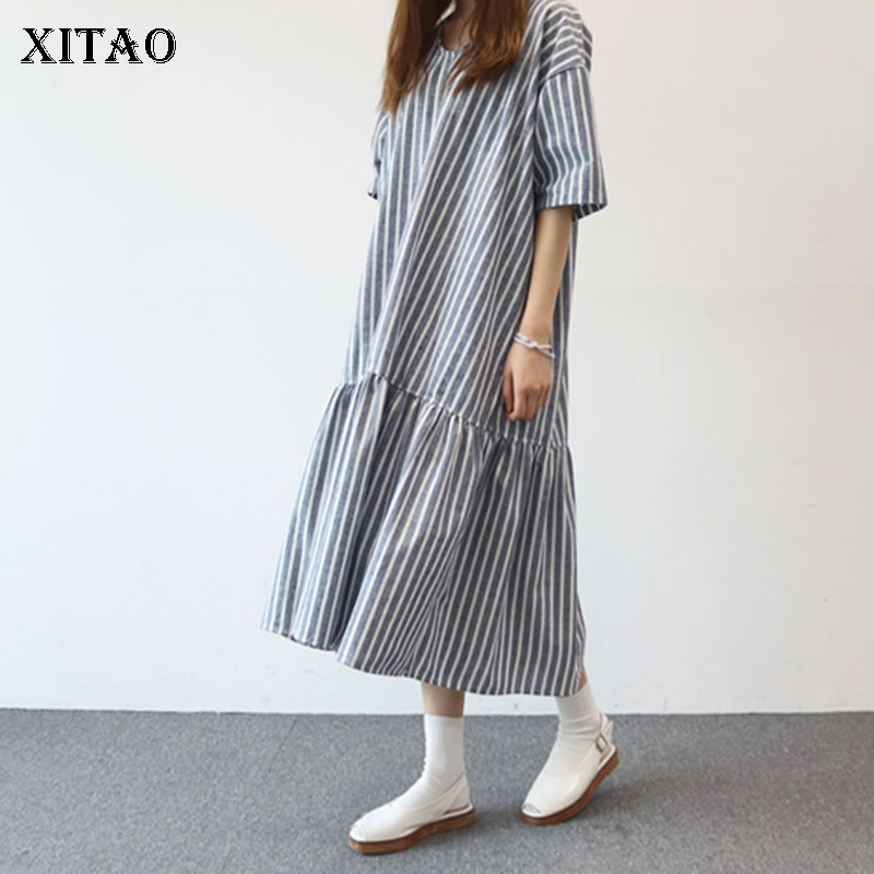 [XITAO] 2018 Spring New Women Europe Fashion O-neck Half Sleeve Pullover A-line Female Striped Pleated Mid-calf Dress KZH492 joseph a new beige short sleeve striped pleated sweater xl $84 dbfl