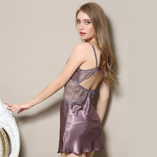 Summer Sexy Satin Chemises Slip Women Sleepshirt Brand Solid Sleeveless Hollow Out Female Nighty With Lace Patchwork