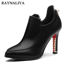 Hot Sale New Arrive Fashion Autumn Diamond Heel Shoes Woman High Heels Pointed Toe Balck Ladies Pumps Size 34-39 YG-A0062