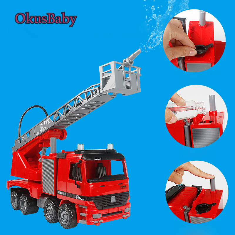 Friendly 1:20 Summer Water Spray Toys Children Emulational Fire Rescue Truck With Water Spraying Inertial Toy Car Model Kids Gifts Meticulous Dyeing Processes Diecasts & Toy Vehicles