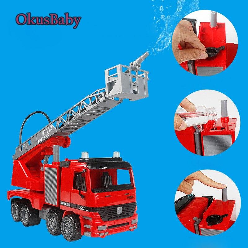1:20 jouets d'été de pulvérisation d'eau camion de sauvetage de feu d'émulation d'enfants avec la pulvérisation d'eau modèle de voiture de jouet inertiel cadeaux d'enfants