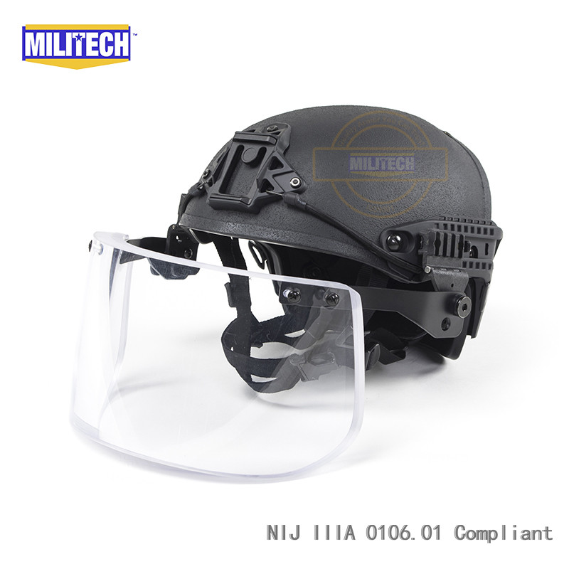 Black BK Airframe CP Air Frame Vented NIJ IIIA 3A Bulletproof Helmet Visor Set Deal Ballistic Helmet Shield Bullet Proof Mask