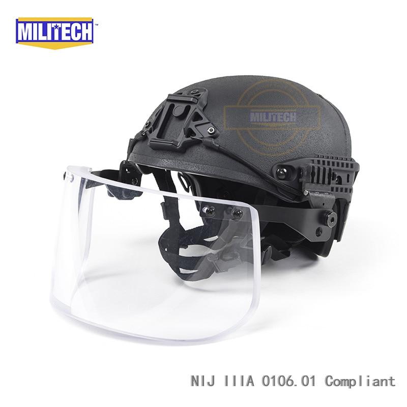Black BK Airframe CP Air Frame Vented NIJ IIIA 3A Bulletproof Helmet Visor Set Deal Ballistic Helmet Shield Bullet Proof Mask