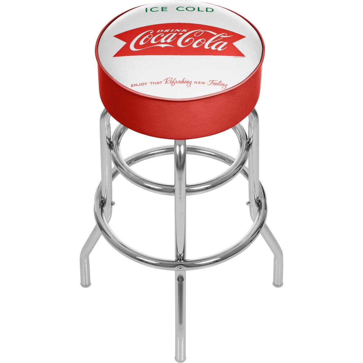 Vintage Coca-Cola Coke Ice Cold Design Padded Swivel Bar Stool 30 Inches High cold drinks coke dispenser vending selling machine field modulation coke making machine