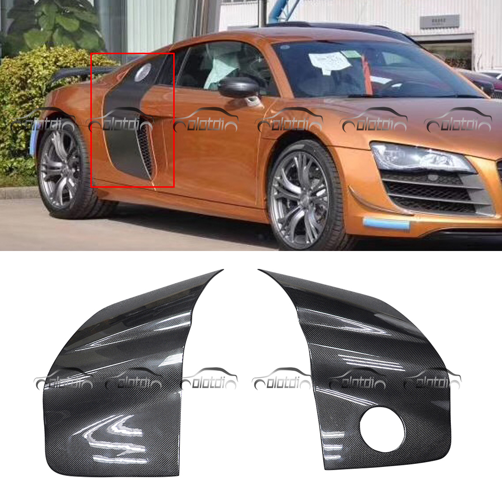 R8 Carbon Fiber Side Door Panel Body Kits  Car Frame Fenders Blade Cover Flares For Audi R8 2008-2014 Car Styling