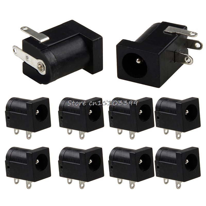 10Pcs PCB Mount 5.5 x 2.1 mm Female DC Power Black Jack Plug Socket Connector G08 Drop ship 100pcs dc power jack socket 1 1 x 3 5 mm black