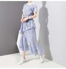 Fashion 2019 Women Blue Striped Summer Dress New Girls Cute Ruffles Floral Print Dres Short Sleeve With Belt Casual Dress flamingo print striped box pleated dress with belt
