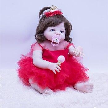 55cm full Silicone girl Dolls Reborn Dolls Simulation Baby Dolls high quality Reborn Baby Toy Toddler loli Dolls Gifts for Kids