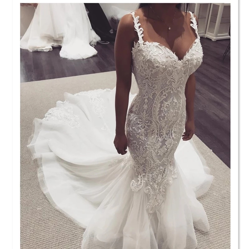 2019 Elegant Lace Mermaid Wedding Dresses Strap Sleeveless Lace Sweet Heart Classic Wedding Gowns Trumpet Bridal Dresses HA060