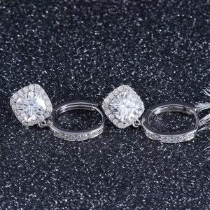 Image 2 - DovEggs 14K 585 or blanc Center 1.1ct 6*6mm F couleur coussin coupe Moissanite diamant boucles doreilles goutte pour les femmes or Halo boucle doreille