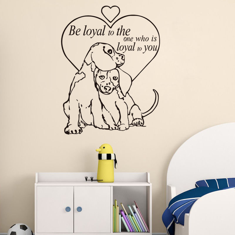 Be Loyal To The One Quotes Vinyl Wall Decal Dogs Love Pet Grooming Salon Shop Wall Paper For Living Room Decor Kids Room Decor
