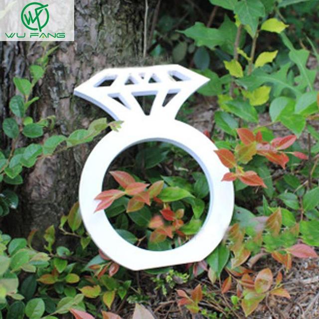 Madeira Sinal de diamante Decoração Do Casamento Photo Booth Props Mão De Madeira do Partido anel de diamante Presentes acessórios Para Casa e jardim 2 tamanhos