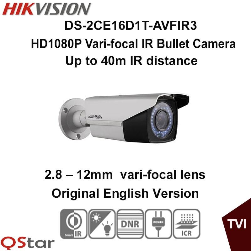 Hikvision Original English Version DS-2CE16D1T-AVFIR3 HD1080P Vari-focal IR Bullet Camera 2MP 2.8-12mm 40m IR CCTV Camera hikvision original english version ds 2ce16d1t irp hd1080p ir bullet camera 2mp ip66 weatherproof up the coax cctv camera
