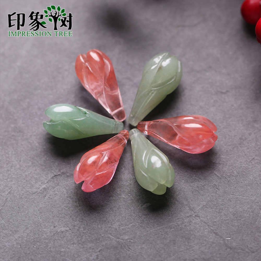 1pc 10*21mm טבעי פנינה ג 'אד e פרח Olay ניצן תליון ירוק ורוד 3D Carven ג' אד e קסמי שרשרת קסמי DIY תכשיטי ביצוע 18093