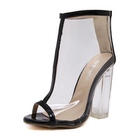 2017 Sexy Women Peep Toe Sandals Woman Party Wedding Shoes Fashion Transparency Jelly Shoes Crystal Square