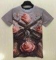 2015 moda feminina Camiseta de manga curta camiseta 3d engraçado imprimir Rose flores 2 Arma T-shirt das mulheres Cobre t
