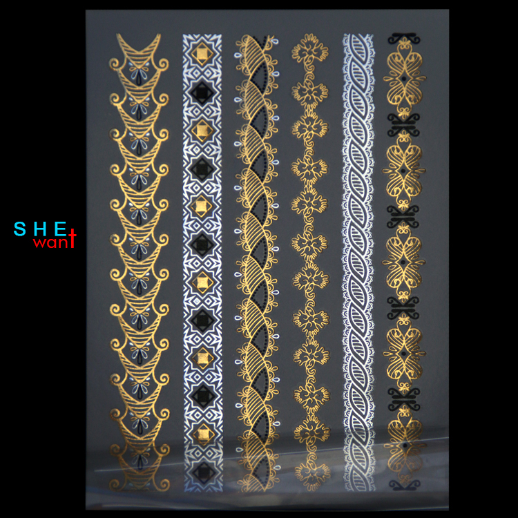 Buy diy waterproof bracelet gold necklace for Wholesale temporary tattoos