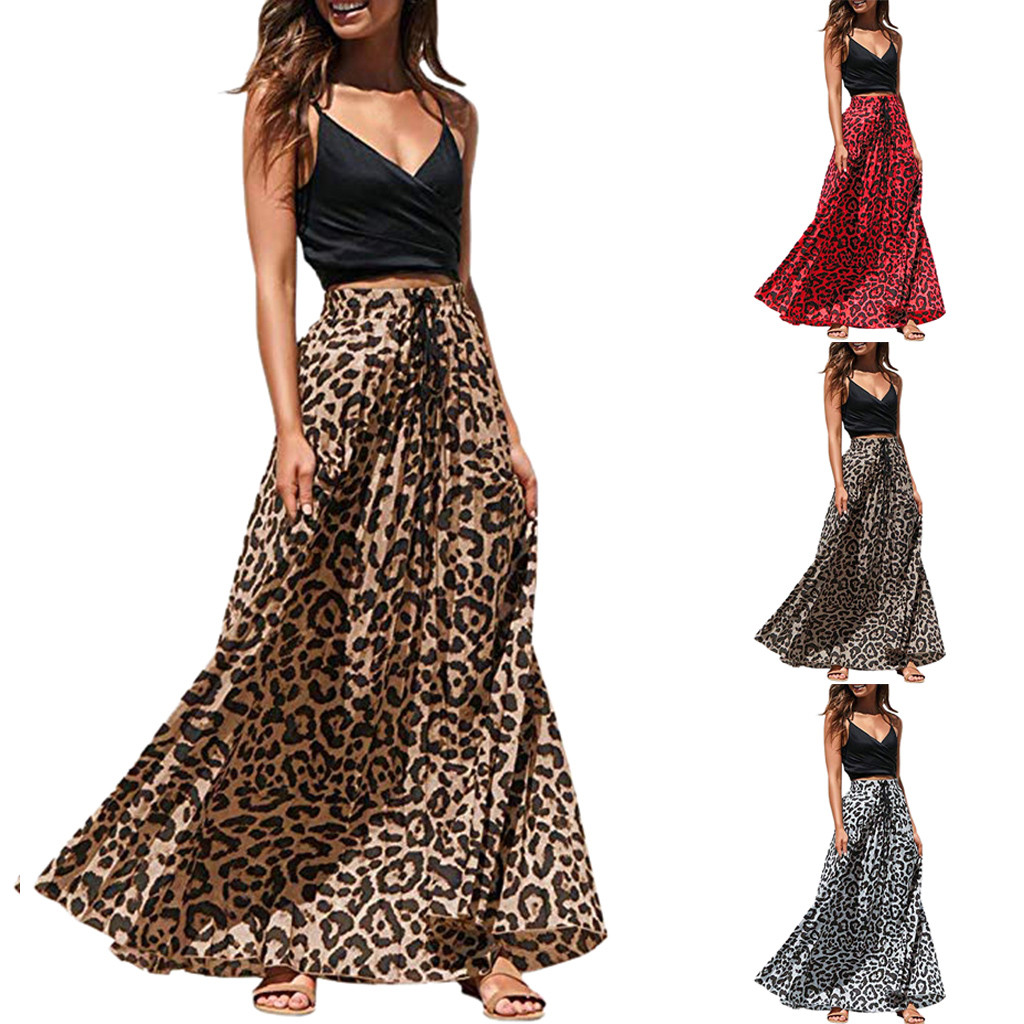 Women's Skirt Skirts faldas jupe femme shein saia Leopard Print Long Drawstring Pleated High Waisted Bohemian Maxi Skirt #50
