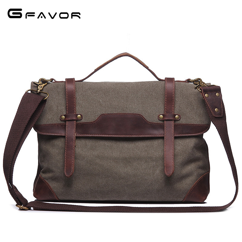 High Quality Vintage Shoulder tote Bag Leather Canvas Men Messenger Bags Man business Briefcase Bag Men's Travel Laptop Bag high quality men canvas bag vintage designer men crossbody bags small travel messenger bag 2016 male multifunction business bag