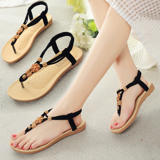 aba457a11b2e New Fashion Summer Women Sandals Casual Elastic Band String Bead Ankle Strap  Flat With Girls Shoes Black Beige Plus Size EU35-40