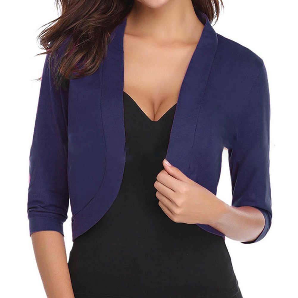 패션 여성 퓨어 컬러 자켓 봄 OL Shrug 오픈 프론트 디자인 플러스 사이즈 Cropped Charms Cardigans Half Sleeve Tops New
