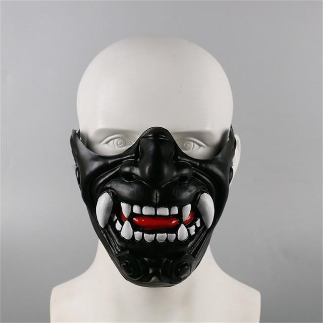 New Half Face Knight Warrior Japanese Ghost King Samurai Mask Halloween Cosplay Wall Mask Hannya Kabuki Evil Demon Onimaru Mask