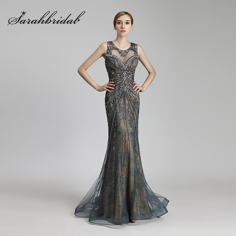 Real Picture Luxury Beading Long Mermaid Celebrity Dresses Vintage Steel Tulle Party Dress Women Fashion Red