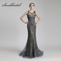 Nuevo diseño de lujo rebordear sirena larga Celebrity Vestidos acero vintage tulle partido Vestido Mujer moda rojo Alfombras vestidos ol429