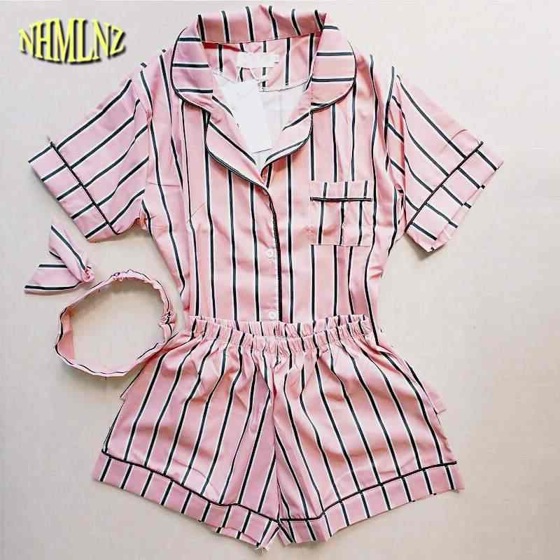 d92b812d9 2019 de moda de verano Pijamas Mujer giro-abajo Collar de ropa de dormir  conjunto