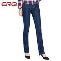 ERQ Women Jeans Cotton Pencil Jeans Fashion Jeans Femme Mid Waist Woman Slim Fit Skinny Jeans