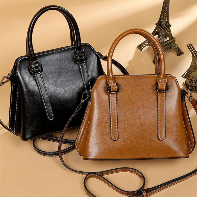 luxury Genuine Leather Handbags Cowhide women's bag Women Messenger Crossbody Bag Female Fashion Shoulder Bags for women 2019-in Top-Handle Bags from Luggage & Bags    1