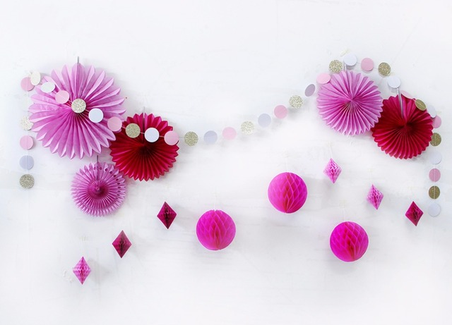 Red Pink Wedding Shower Decorations Diy Paper Fan Honeycomb Balls