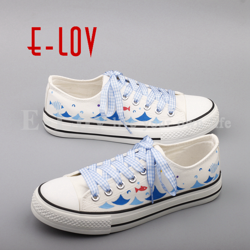 E-LOV Women Girls Vulcanized Casual Board Shoes Fashion Graffiti Flat Shoe Hand Painted Canvas Shoes Zapatos Mujer e lov hand painted graffiti horoscope canvas shoes custom luminous graffiti gemini casual flat shoes women zapatillas mujer