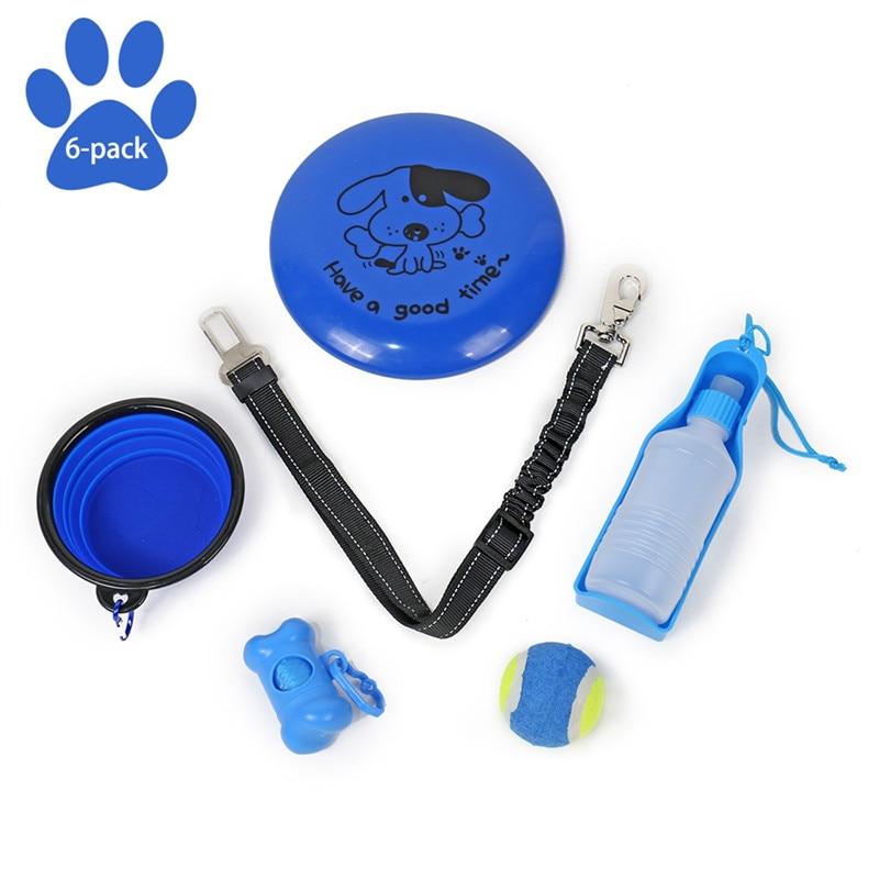 6 PCS/Set Pet Dog Toys Set Interesting Dog Toys Pet Outdoor Daily Used Sets Dog Drinking Feeding Playing Pet Travelling Sets