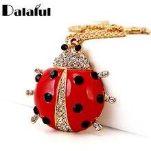 Rojo mariquita esmaltada escarabajo Animal de cristal collares y collar con colgante largo para las mujeres X608