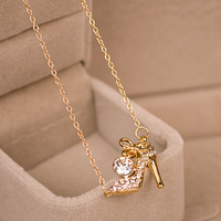 2015 New S925 Sterling Silver Gilt Necklace Bow Heels Pendant