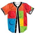 Ladrillos Lego Jersey 3d Hip Hop tops con Un Solo Pecho camisas de Los Hombres camisa del béisbol ocasional Streetwear