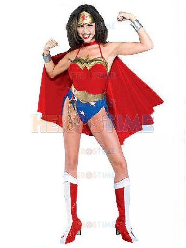 Sexy Wonder Woman Costume Red Spandex Cosplay Wonder Woman Superhero Costume The Most Popular Female Dress Free Shipping