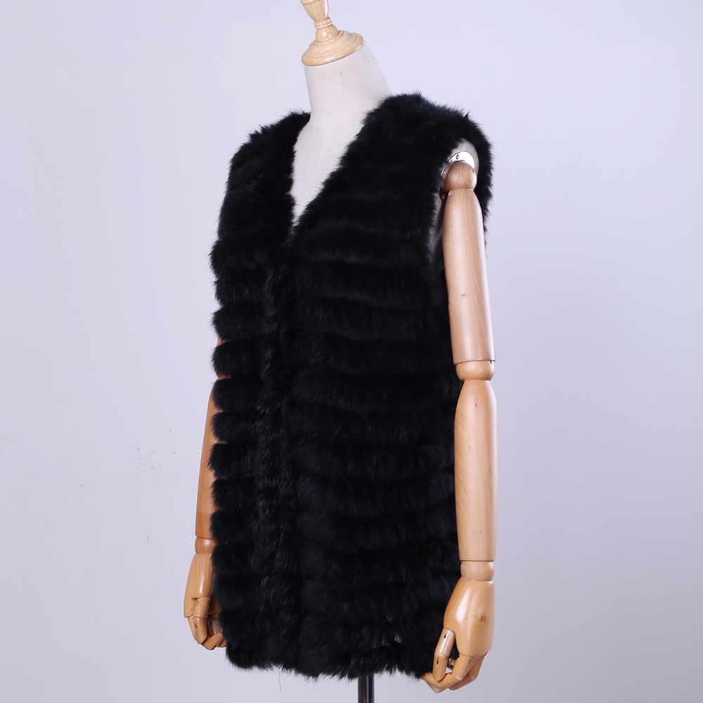 2019 New Women's Genuine Rabbit Fur Vest Hand Knitted Fur Gilet Lady Natural Fur Waistcoat Sleeveless Real Fur Coat Jacket