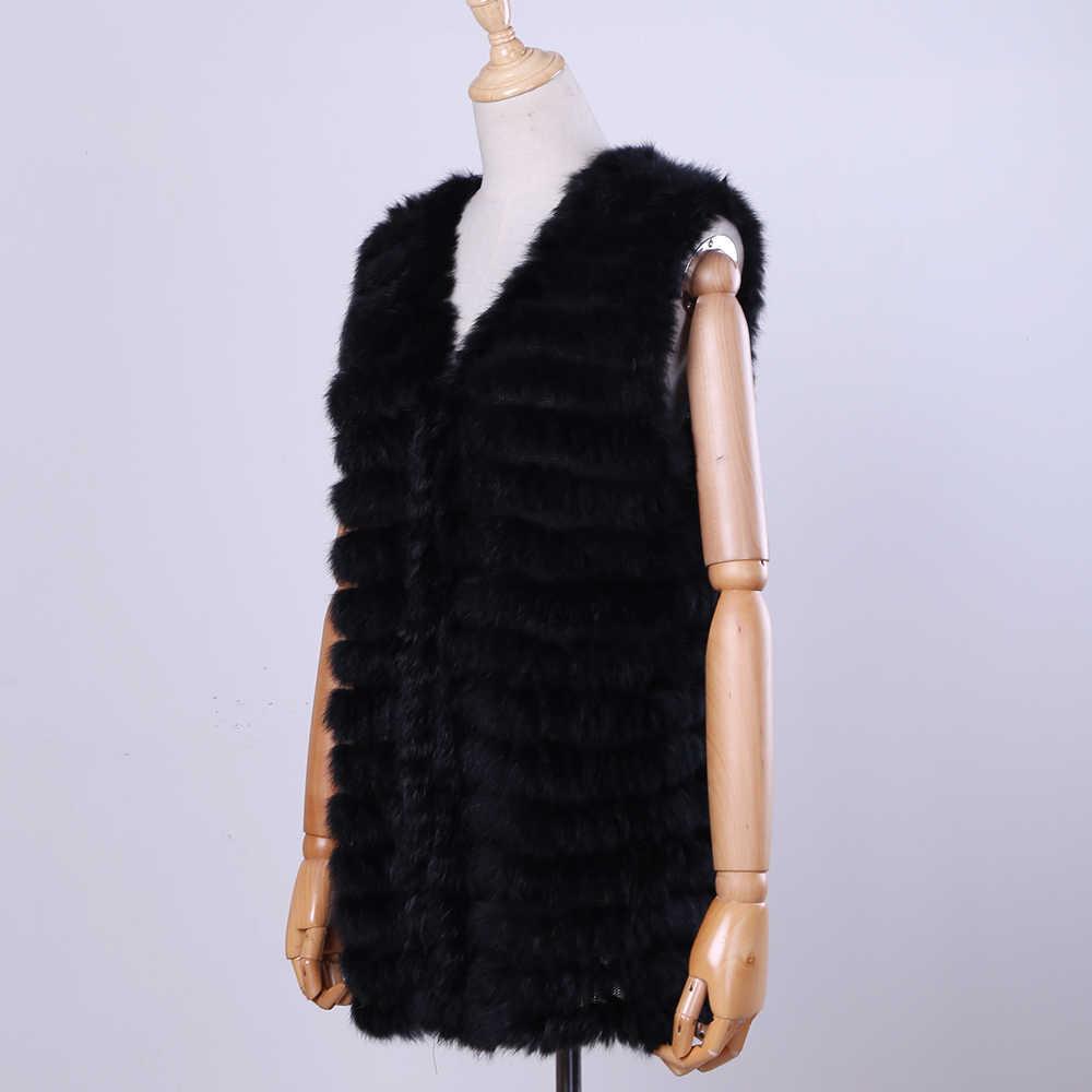 2020 새로운 여성의 정품 토끼 모피 조끼 손 니트 모피 Gilet 레이디 천연 모피 양복 조끼 민소매 리얼 모피 코트 자켓