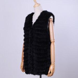 Image 1 - 2020 New Womens Genuine Rabbit Fur Vest Hand Knitted Fur Gilet Lady Natural Fur Waistcoat Sleeveless Real Fur Coat Jacket