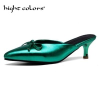 Mules Shoes Women's 5cm High Heel Sexy Pointed Toed Woman Pumps Summer Office Work Shoes Sliver Green Pink Zapatos EUR 34 46