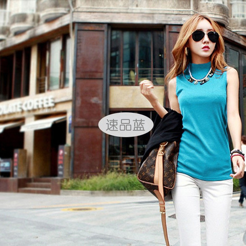 New Women Summer Autumn Sleeveless Solid Color Tops & Tees Cotton Tanks Tops Women Blouses Shirts Lady Vest 10 colors Lahore