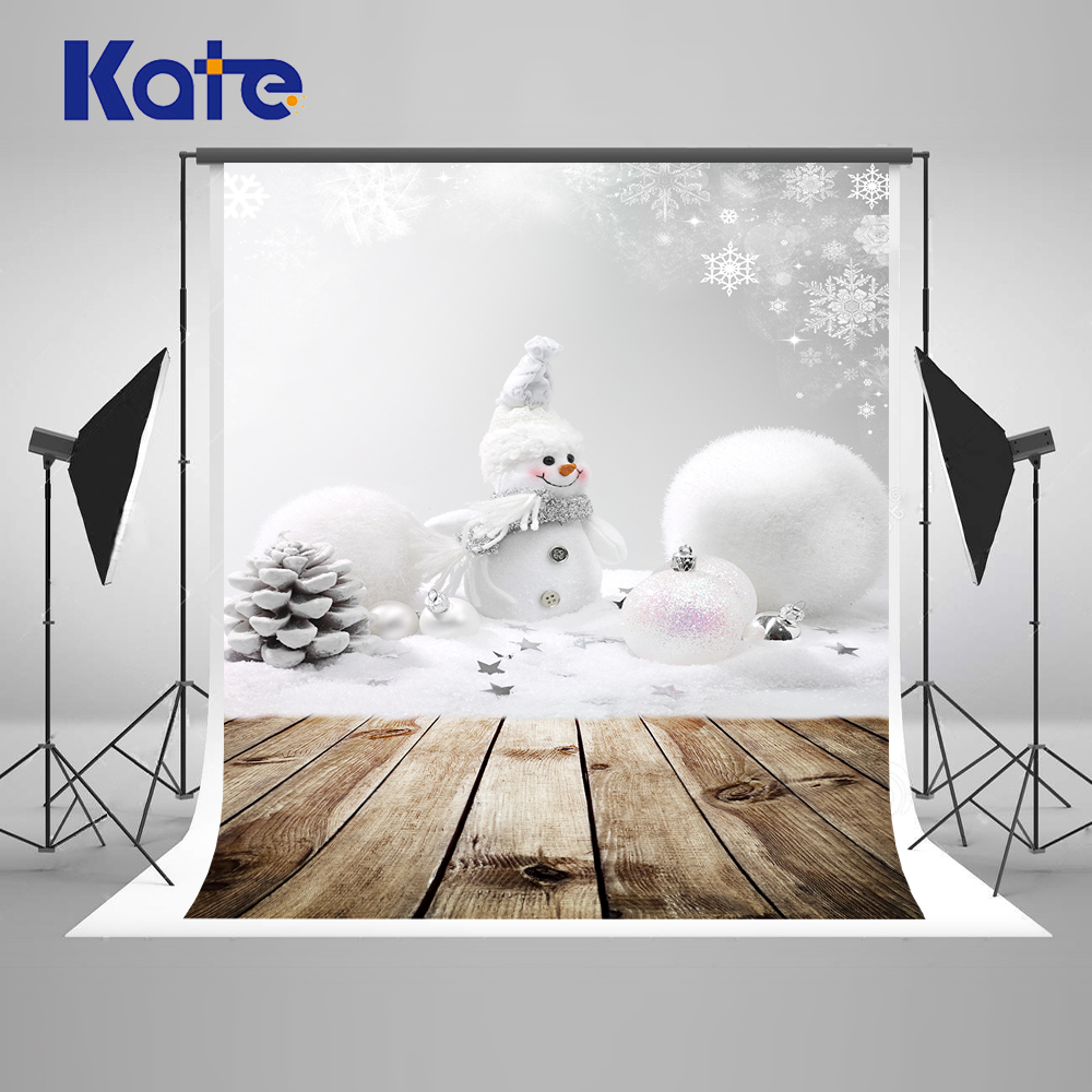 Kate White Snowman Christmas Photography Backdrops Happy New Year Wood Photo Background Children Custom Backdrops For Parties