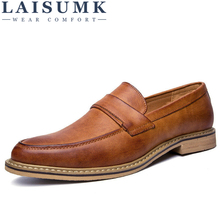 LAISUMK Oxford Shoes for Men Leather 2019 Lace Up Front Dress Fashion Pointed Toe Male Flats Luxury