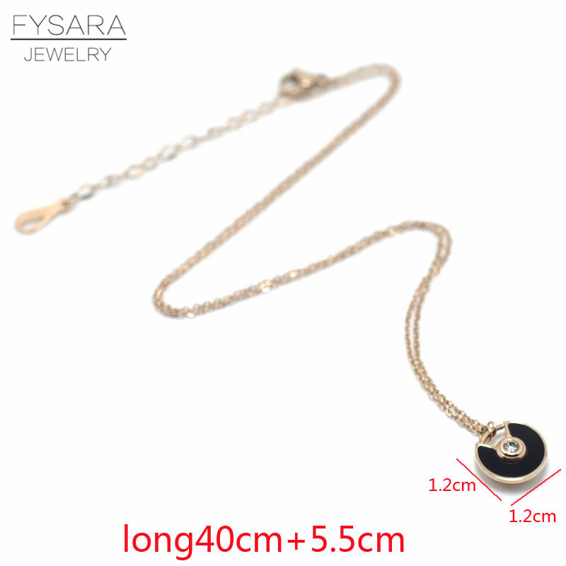 FYSARA Stainles Steel Black/White Shell Circle Saucer Charm Bracelet CZ Crystal Luxury Trendy Chain Link Bracelets For Women 9