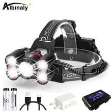 USB Rechargeable Led Headlamp waterproof headlight 4 lighting modes flashlight T6 lamp bead for fishing camping with 18650 portable zooming xml t6 led headlamp waterproof zoom fishing headlights camping hiking flashlight with usb cable