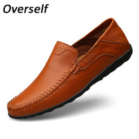 New Handmade Moccasins Soft Genuine Cow Leather Mens Loafers Fashion Brown Casual Shoes Slip On Men