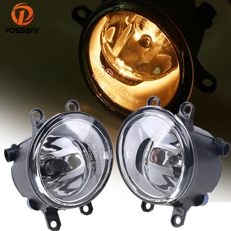 POSSBAY Car Fog Light Lamps H11 Bulbs Amber Fit 2007-2011 Toyota Camry for 2008-2014 Lexus LX570 Auto Fog Lamp Assembly front bumper led fog lamp daytime running light replacement assembly 2p for lexus lx lx570 2008 2009 2010 2011
