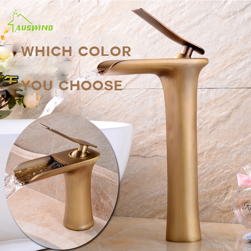 Basin Basin Waterfall Faucet Continental Copper Faucet Paint Plating Hot and Cold Tap Multi-style Bathroom Faucet FE-01 copper bathroom shelf basket soap dish copper storage holder silver